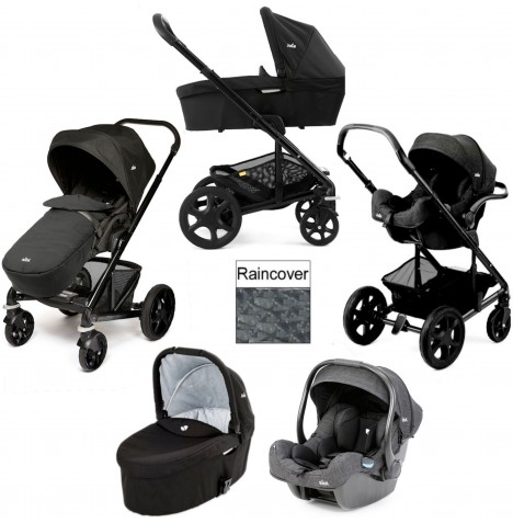 Joie Chrome Plus Black Frame (i-Gemm) Travel System & Carrycot - Black Carbon