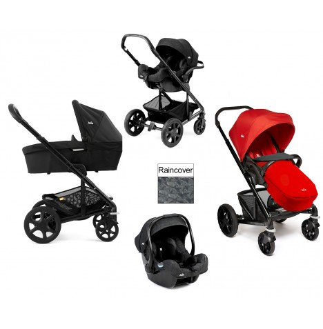 Joie Chrome Plus Black Frame (i-Size) Travel System & Carrycot - Tomato Red