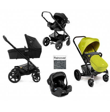 Joie Chrome Plus Black Frame (i-Size) Travel System & Carrycot - Green