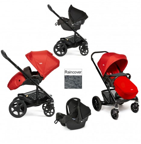 Joie Chrome Plus Black Frame Travel System (With Colour Pack) - Tomato Red