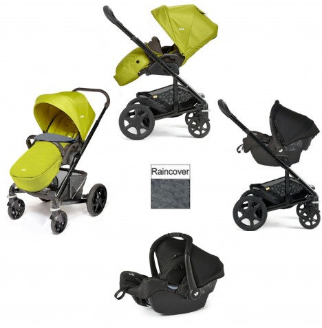 Joie Chrome Plus Black Frame Gemm Travel System (With Colour Pack) - Green