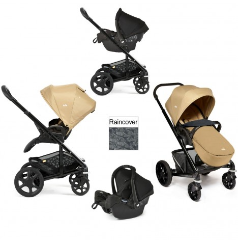 Joie Chrome Plus Black Frame Travel System (With Colour Pack) - Sand