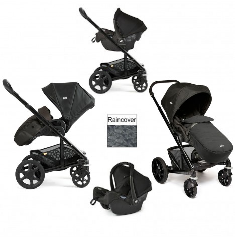 Joie Chrome Plus Black Frame Travel System (With Colour Pack) - Black Carbon
