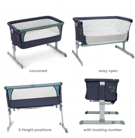 Chicco Next 2 Me Special Edition Bedside Side Sleeping Crib - Denim