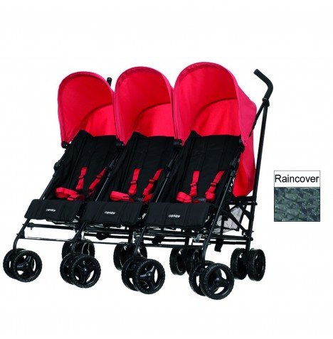 Obaby Mercury Triple Stroller - Black / Red