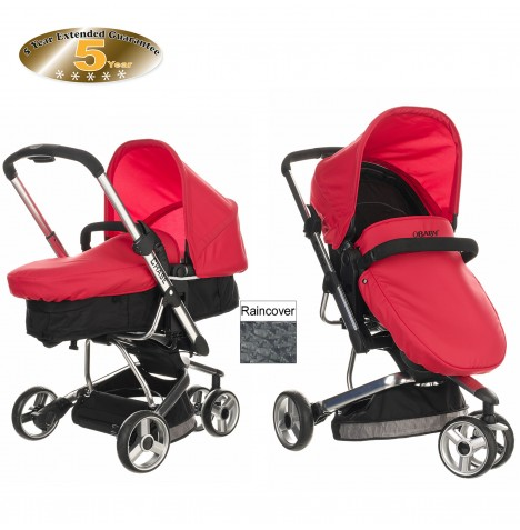Obaby Chase 3 Wheel 2 in 1 Pramette - Black / Red