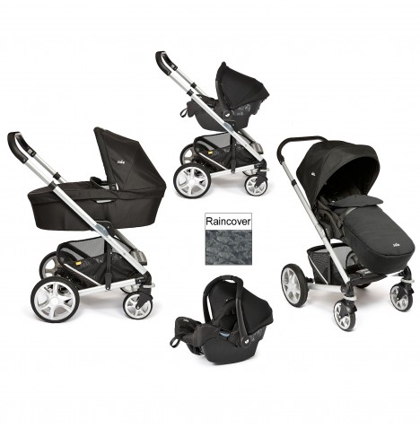 Joie Chrome Plus Silver Frame Travel System & Carrycot - Black Carbon..