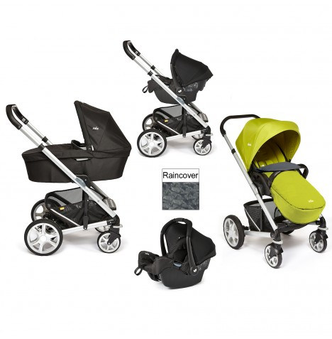 Joie Chrome Plus Silver Frame Travel System & Carrycot - Green..