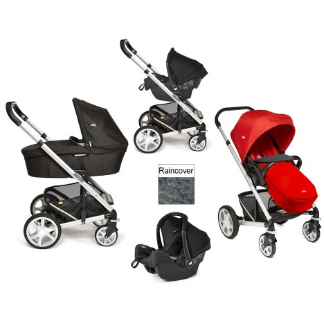 Joie Chrome Plus Silver Frame Travel System & Carrycot - Tomato Red..