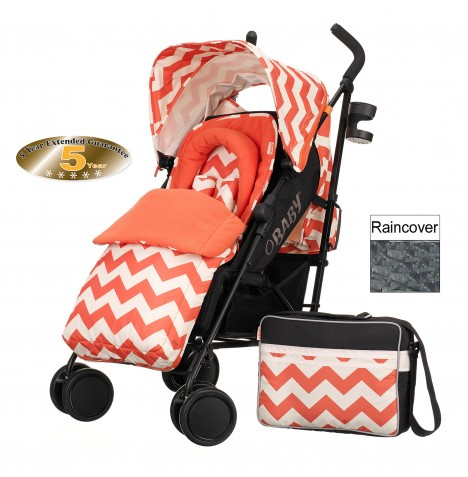 Obaby Zeal Stroller Bundle - ZigZag Orange