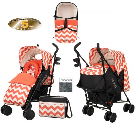Obaby Zeal Stroller With Carrycot - ZigZag Orange