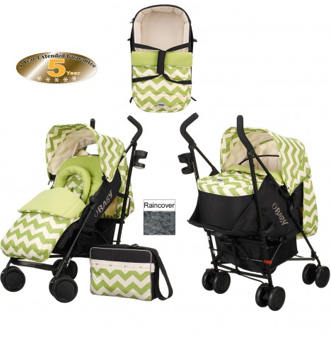 Obaby Zeal Stroller With Carrycot - ZigZag Lime