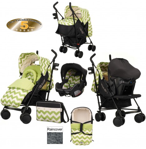 Obaby Zeal Travel System & Carrycot - ZigZag Lime