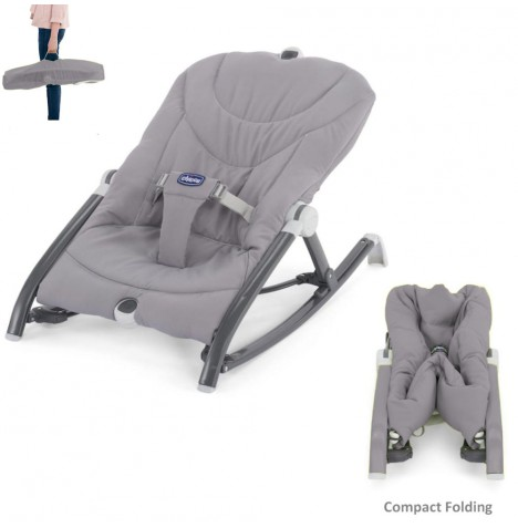 CHICCO POCKET RELAX BABY BOUNCER GREY MULTI POSITION