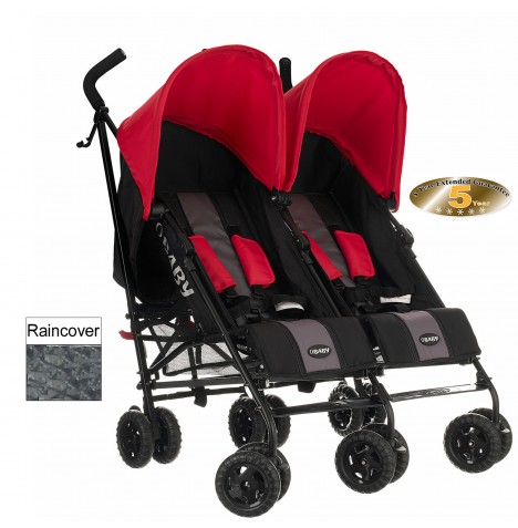 Obaby Apollo Grey Stripe Twin Stroller - Red