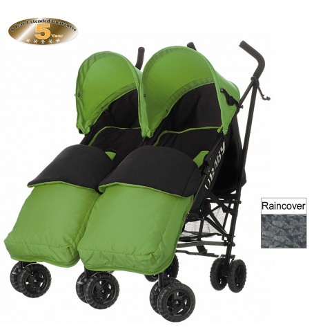 Obaby Apollo Grey Stripe Twin Stroller With Footmuffs - Lime