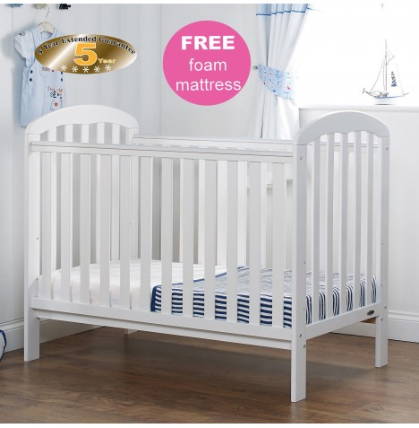 Obaby Lily Cot & Foam Safety Mattress - White
