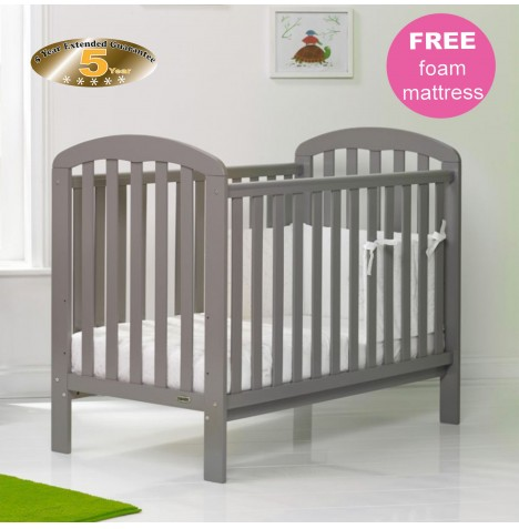 Obaby Lily Cot & Foam Safety Mattress - Taupe Grey