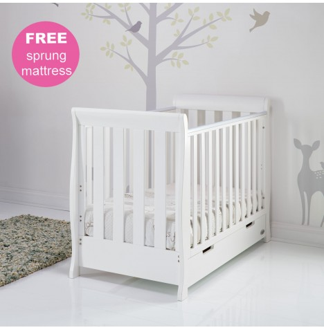 Obaby Stamford Mini Sleigh Cot Bed & Sprung Mattress - White