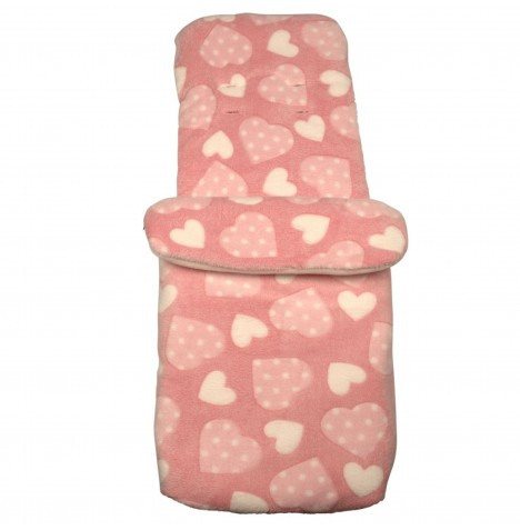 Clair de Lune Heart Fleece Pushchair Footmuff - Pink