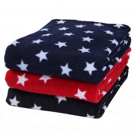 Clair De Lune Universal Star Fleece Pushchair / Pram / Moses Basket / Crib / Car Seat Blanket - Black