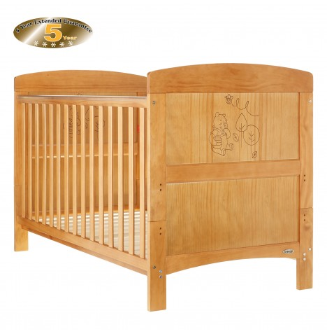 Obaby Disney Winnie The Pooh Cot Bed & Foam Mattress - Country Pine