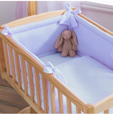 Clair De Lune Rocking Crib 2 Piece Quilt & Bumper Set - Cotton Candy Blue