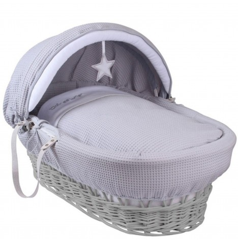 Clair De Lune Deluxe Padded Grey Wicker Baby Moses Basket - Silver Lining Grey