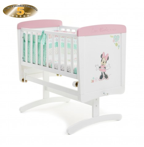Obaby Disney Love Minnie Gliding Crib - White (With Pink Trim)