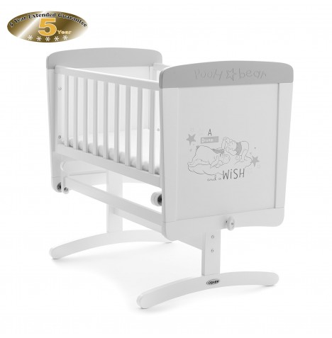 Obaby Disney Pooh Dreams & Wishes Gliding Crib - White (With Grey Trim)