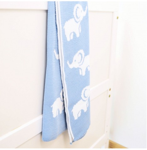4baby Knitted Cot / Pram Blanket - Ellie Blue