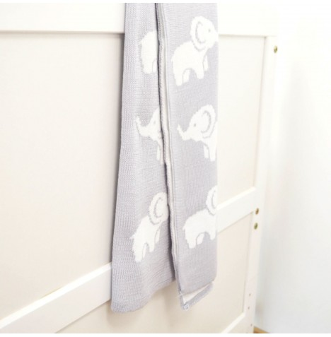 4baby Knitted Cot / Pram Blanket - Ellie Light Grey
