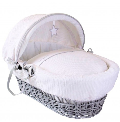 Clair De Lune Deluxe Padded Grey Wicker Baby Moses Basket - Silver Lining White