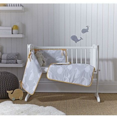 Clair De Lune Rocking Crib 2 Piece Quilt & Bumper Set - Whales