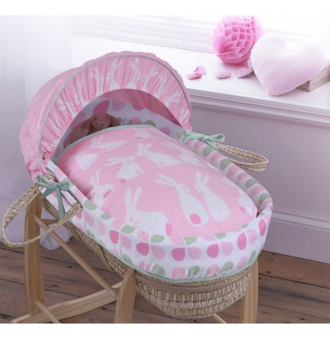 Clair De Lune Palm Moses Basket - Rabbits Pink
