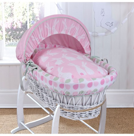 Clair De Lune Deluxe Padded White Wicker Baby Moses Basket - Rabbits Pink