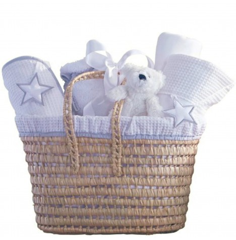 Clair De Lune Luxury Gift Nursery Basket - Silver Lining White