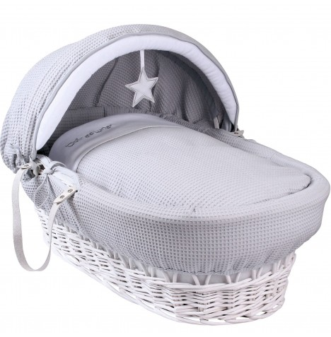 Clair De Lune Deluxe Padded White Wicker Baby Moses Basket - Grey Silver Lining