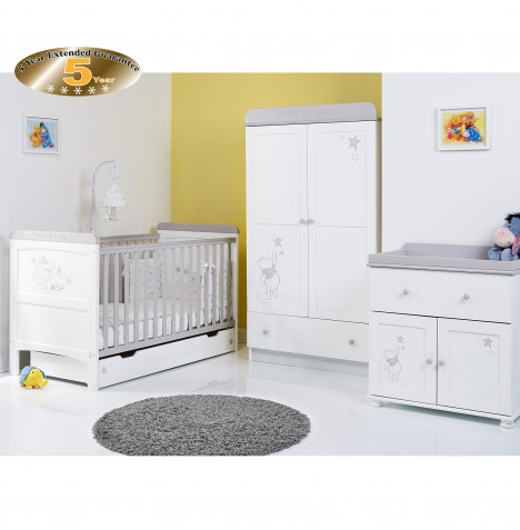 Obaby Disney Pooh Dreams & Wishes 4 Piece Nursery Room Set - White (With Grey Trim)