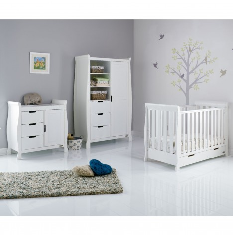 Obaby Stamford Mini 3 Piece Nursery Room Set - White