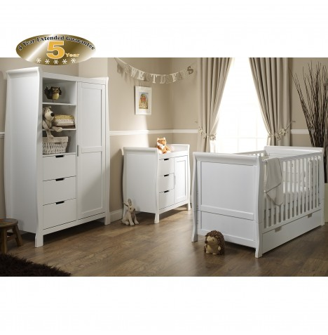 Obaby Stamford Classic Sleigh 3 Piece Nursery Room Set - White