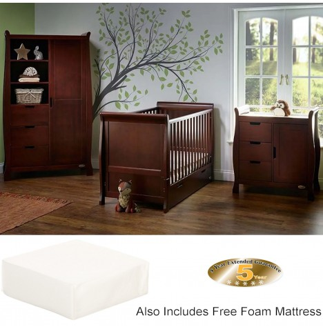 Obaby Stamford Classic Sleigh 3 Piece Room Set with Foam Cot Bed Mattress - Walnut