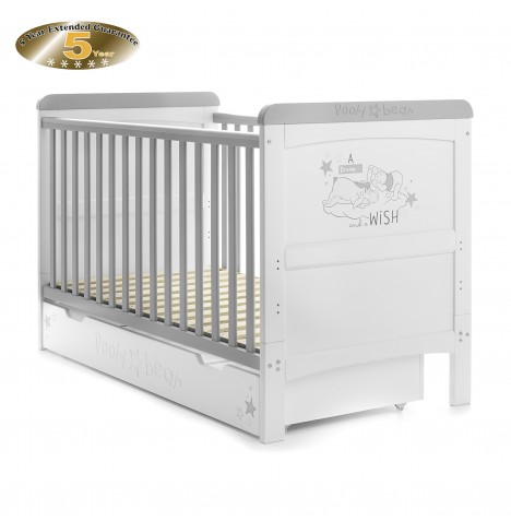 Obaby Disney Pooh Dreams & Wishes Deluxe Cot Bed & Under-Drawer - White (With Grey Trim)