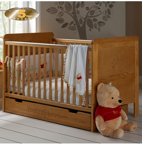 Obaby Disney Winnie The Pooh Deluxe Cot Bed & Under-Drawer & Sprung Mattress - Country Pine