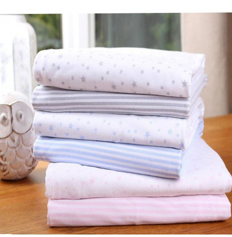 Clair De Lune (2 Pack) Moses Basket Fitted Cotton Jersey Sheets - Stars and Stripes Pink