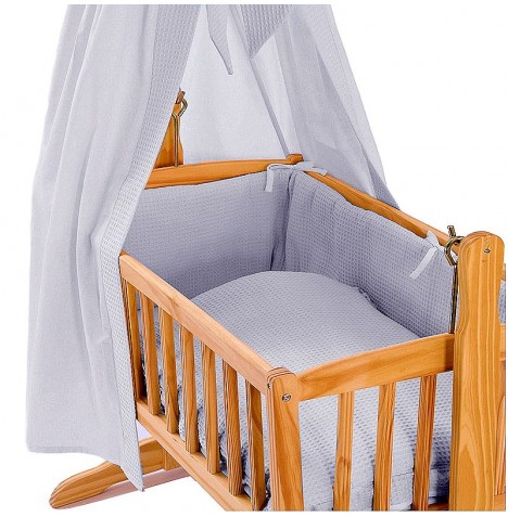Clair De Lune Rocking Crib Quilt & Bumper Set - Waffle Grey