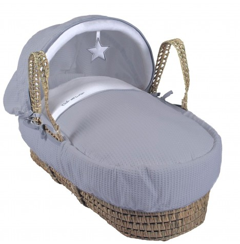 Clair De Lune Luxury Padded Palm Moses Basket - Grey Silver Lining
