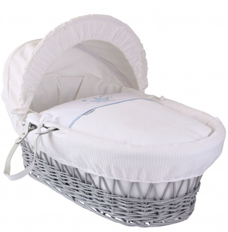 Clair De Lune Deluxe Padded Grey Wicker Baby Moses Basket - Stardust Blue