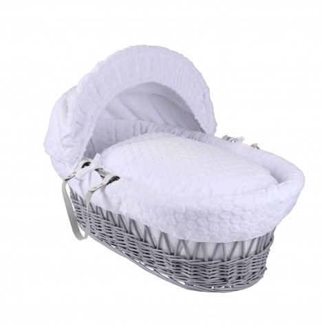 Clair De Lune Deluxe Padded Grey Wicker Baby Moses Basket - White Marshmallow