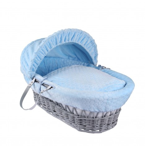 Clair De Lune Deluxe Padded Grey Wicker Baby Moses Basket - Blue Marshmallow
